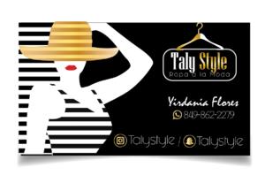 Trajeta de presentación para tienda de ropa